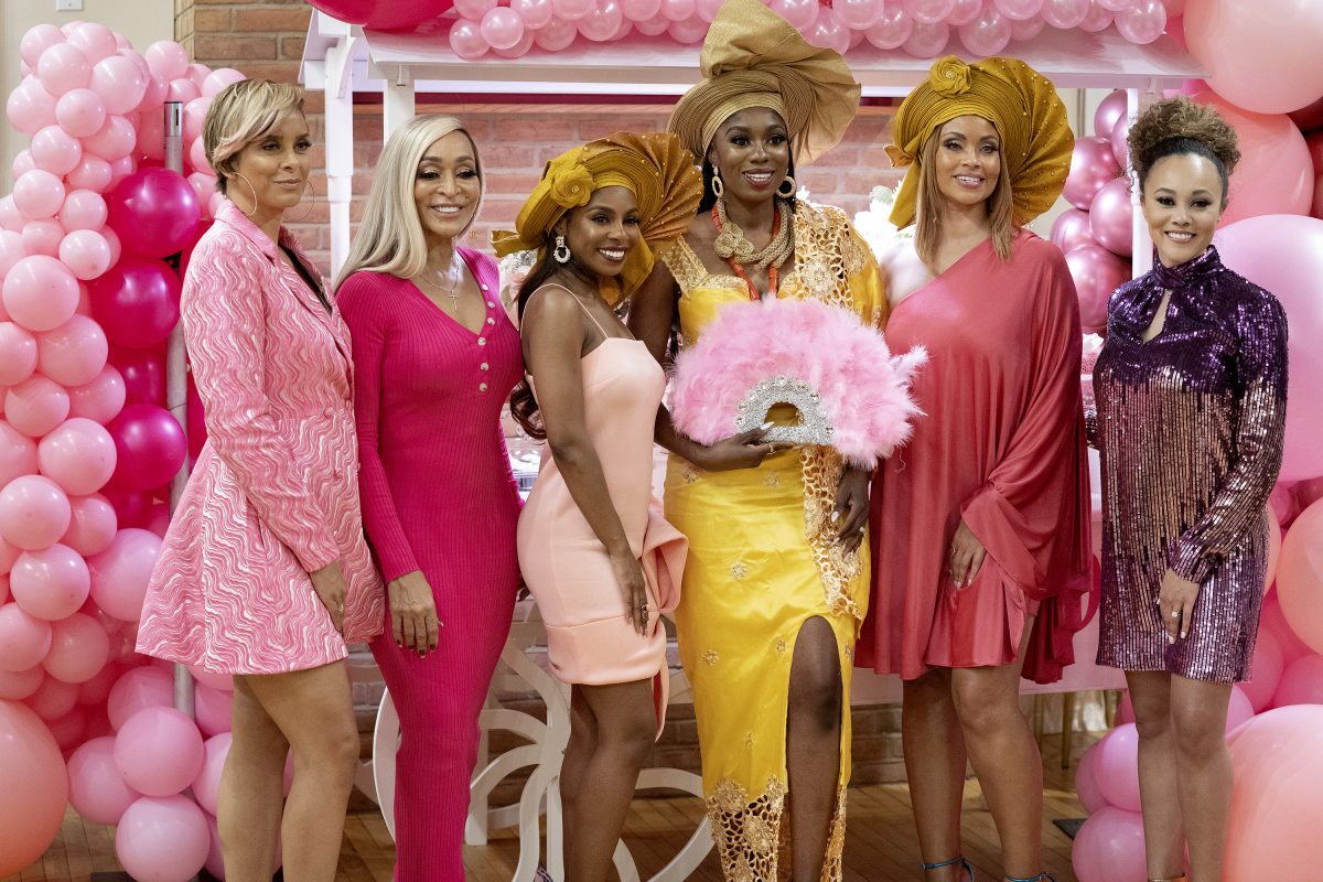 'The Real Housewives of Potomac' -- Pictured: (l-r) Robyn Dixon, Karen Huger, Candiace Dillard, Wendy Osefo, Gizelle Bryant, Ashley Darby