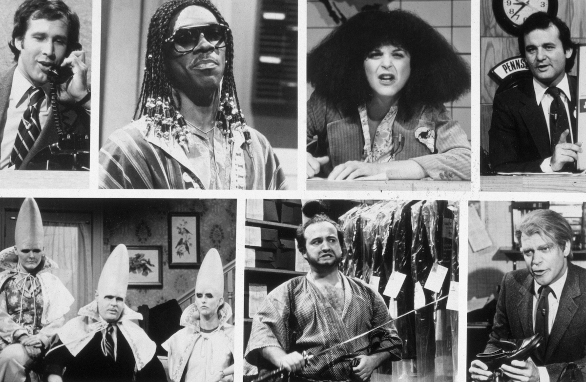 Circa 1975, Stills from sketches from the 1975-84 seasons of the television show 'Saturday Night Live.' Top, left to right: Chevy Chase, Eddie Murphy, Gilda Radner (1946 - 1989), Bill Murray; and bottom Jane Curtain, Dan Aykroyd, Laraine Newman, John Belushi and Joe Piscopo