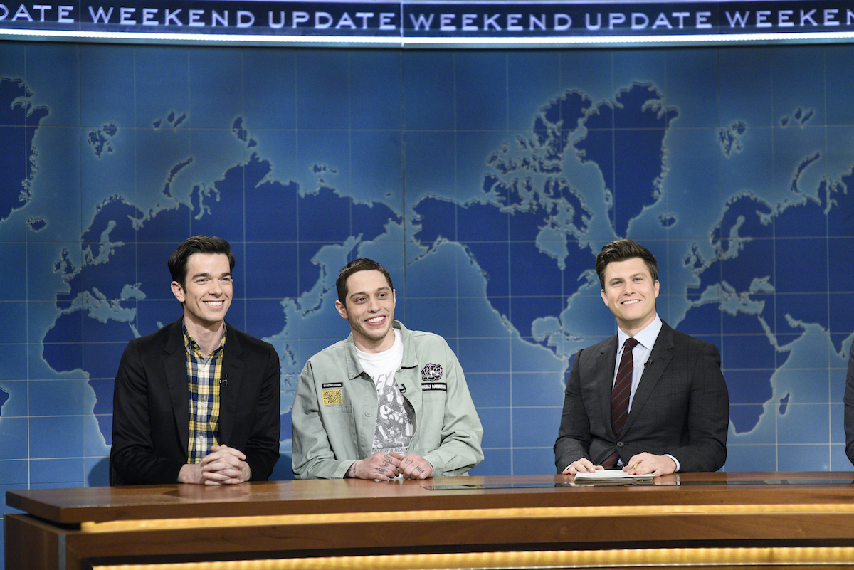 """John Mulaney, Pete Davidson, and anchor Colin Jost during """"Weekend Update"""" on Saturday, January 19, 2019"""