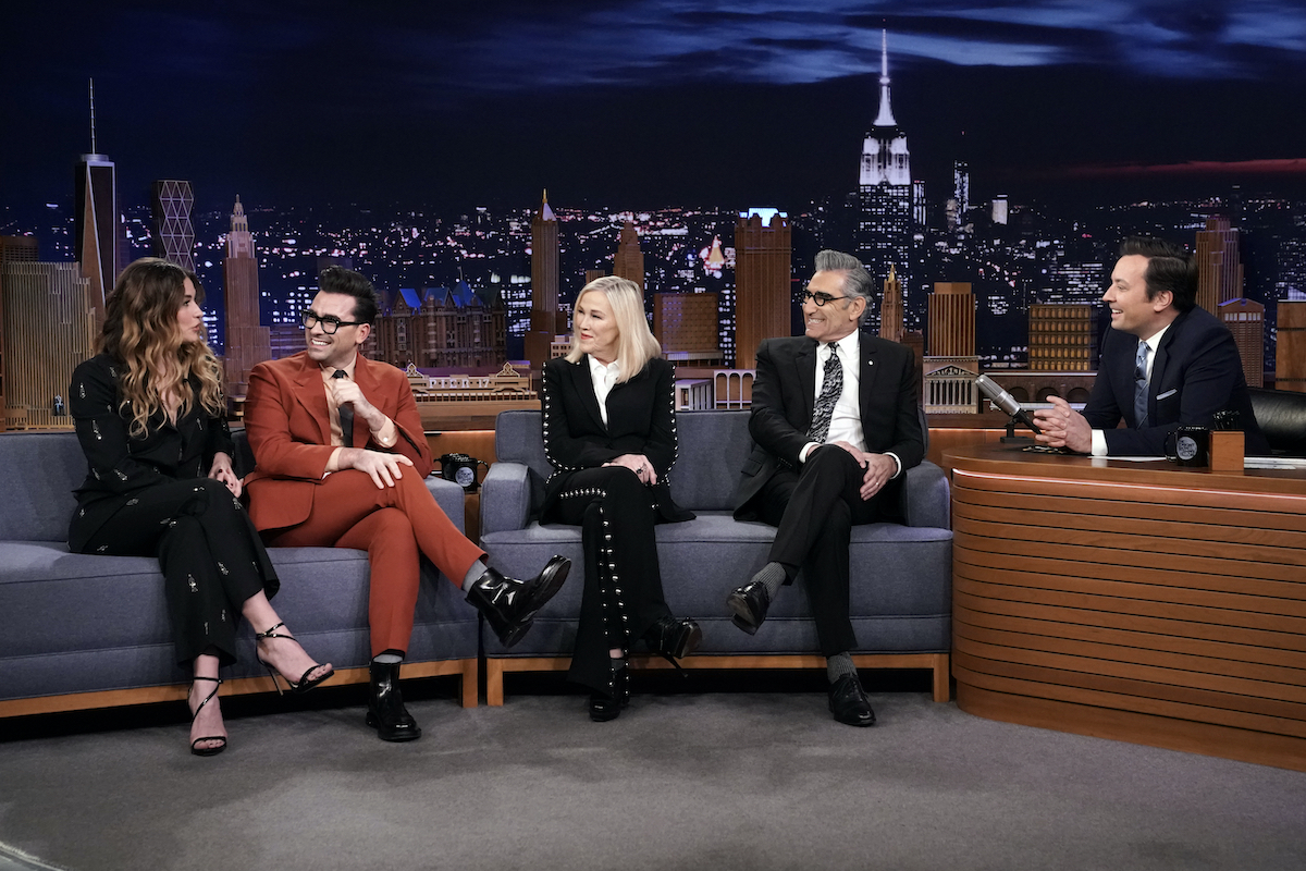 """Annie Murphy, Dan Levy, Catherine O'Hara, and Eugene Levy of """"Schitt's Creek"""" during an interview with host Jimmy Fallon"""