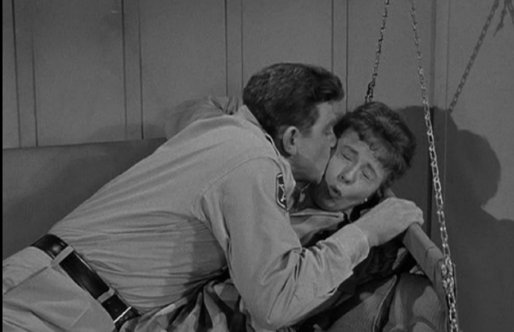 Andy Griffith and Betty Lynn in a scene from 'Cyrano Andy' on 'The Andy Griffith Show'