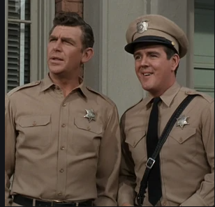 Andy Griffith as Sheriff Andy Taylor, left, with Jack Burns as Deputy Warren Ferguson on 'The Andy Griffith Show'