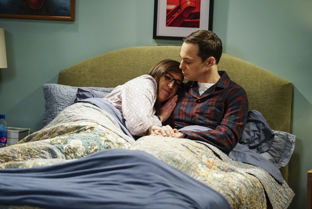 Amy Farrah Fowler (Mayim Bialik) and Sheldon Cooper (Jim Parsons) in a scene for 'The Big Bang Theory'