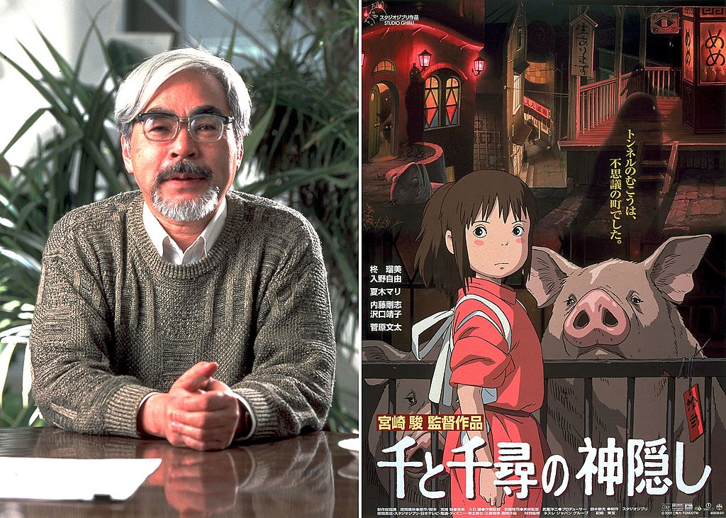 Spirited Away poster and Hayao Miyazaki of Studio Ghibli