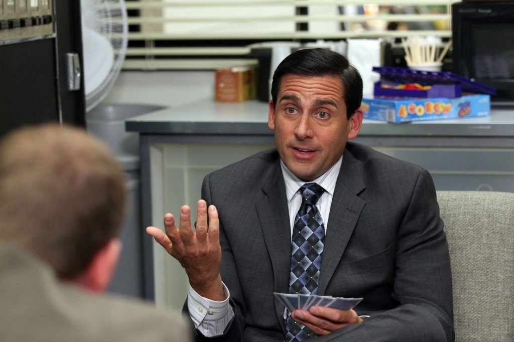 Steve Carell on set of The Office