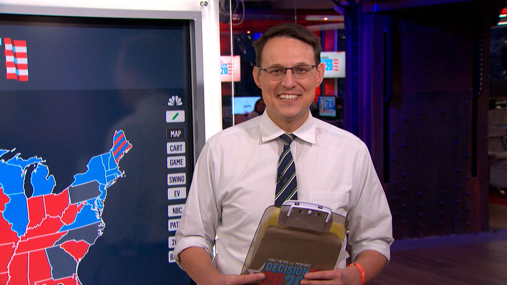 Steve Kornacki smiling at the camera in front of an election map