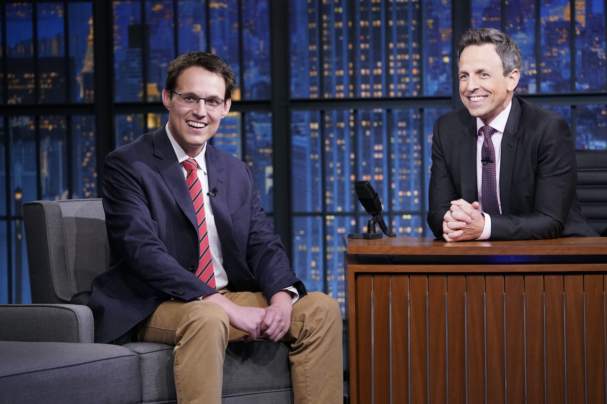 Journalist Steve Kornacki during an interview with host Seth Meyers
