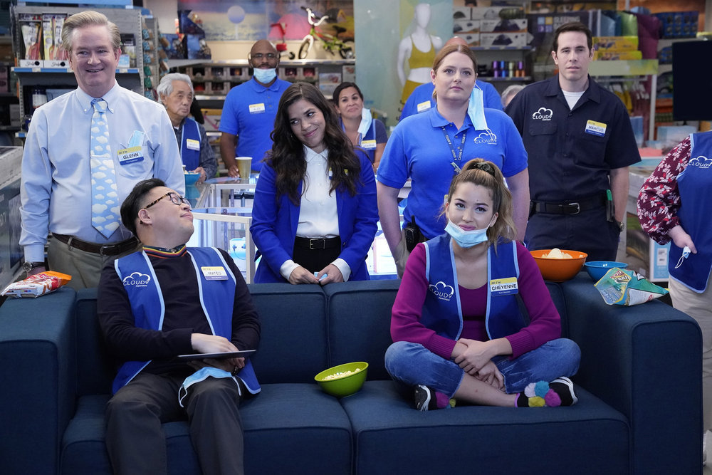 Mark McKinney as Glenn, Nico Santos as Mateo, America Ferrera as Amy, Lauren Ash as Dina, Nichole Sakura as Cheyenne, and Jon Barinholtz as Marcus in Season 6 of 'Superstore'