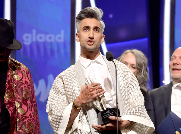 Tan France accepts the Outstanding Reality Program for 'Queer Eye' onstage during the 30th Annual GLAAD Media Awards