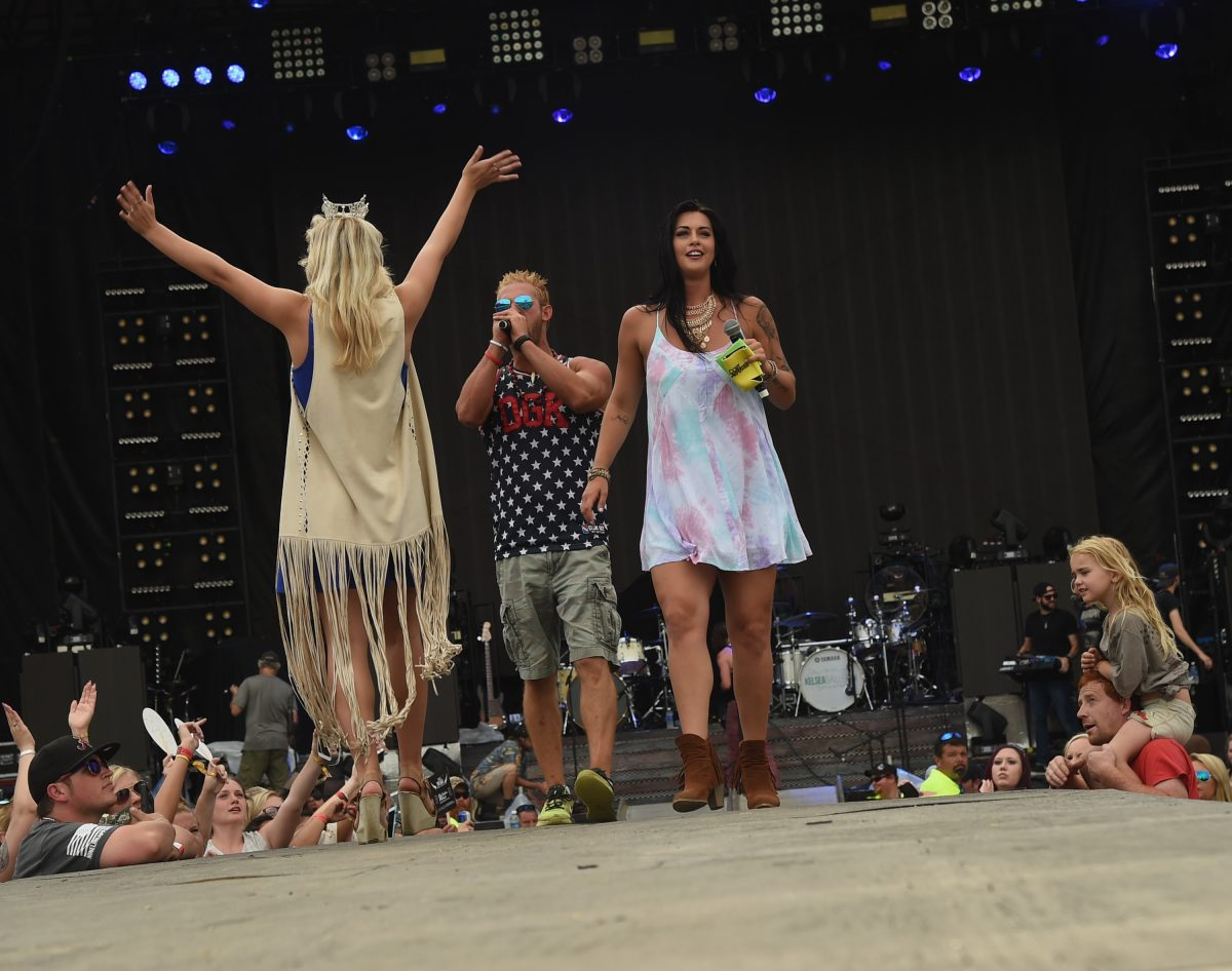 """Miss Alabama 2015 Maggie McGuffin (Crown on Head) and CMT's Party Down South cast members Ryan """"Daddy"""" Richards and Mattie Breaux attend Pepsi's Rock The South Festival - Day 2 at Heritage Park"""