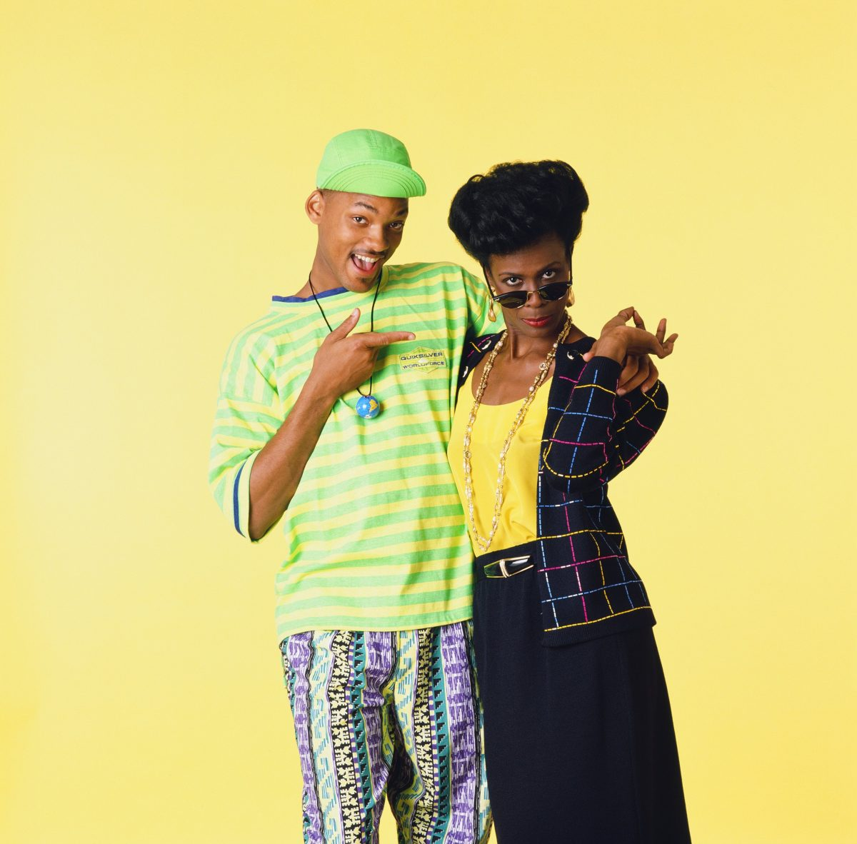 THE FRESH PRINCE OF BEL-AIR -- Season 1 -- Pictured: (l-r) Will Smith as William 'Will' Smith, Janet Hubert as Vivian Banks --