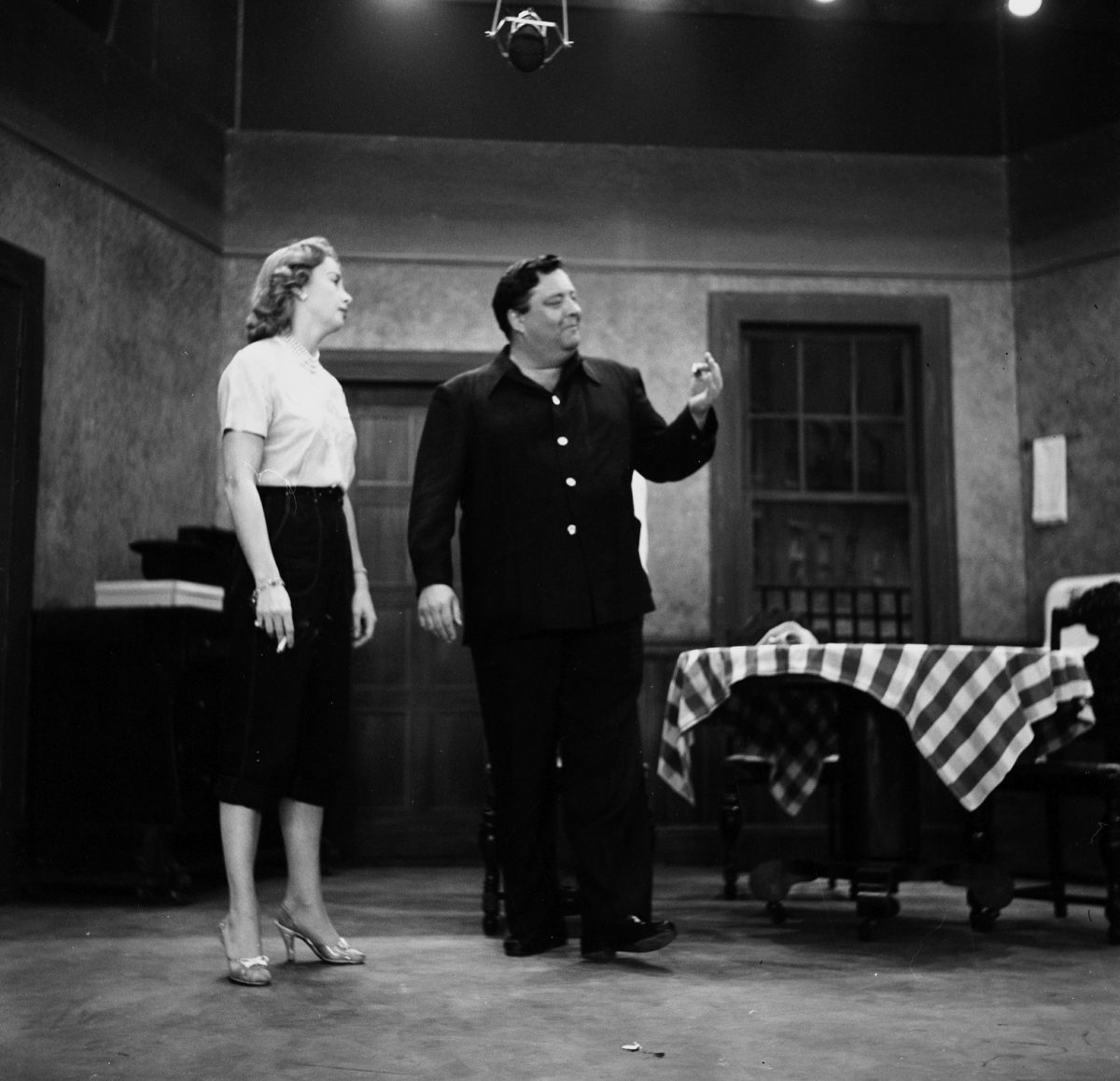 Audrey Meadows and Jackie Gleason appear on stage together