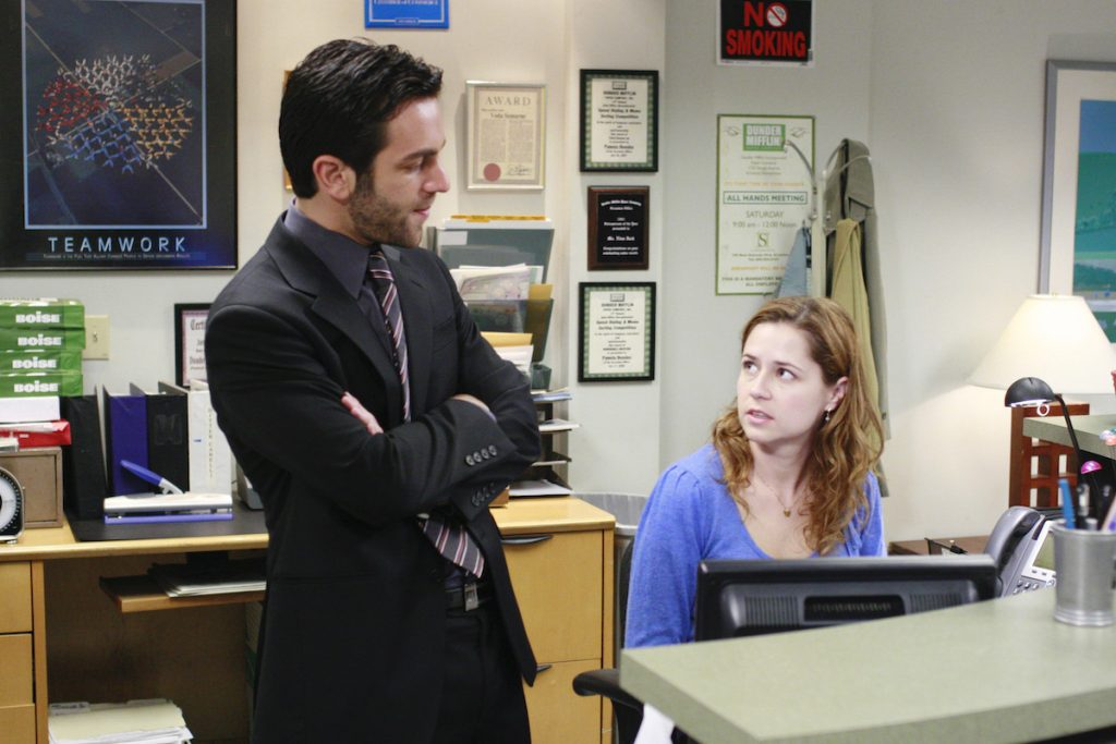 B.J. Novak as Ryan Howard and Jenna Fischer as Pam Beesly on 'The Office'