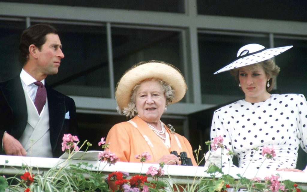 The Queen Mother with Prince Charles and Princess Diana
