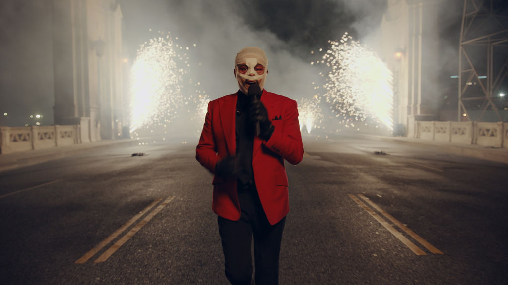 The Weeknd performing at the 2020 AMAs