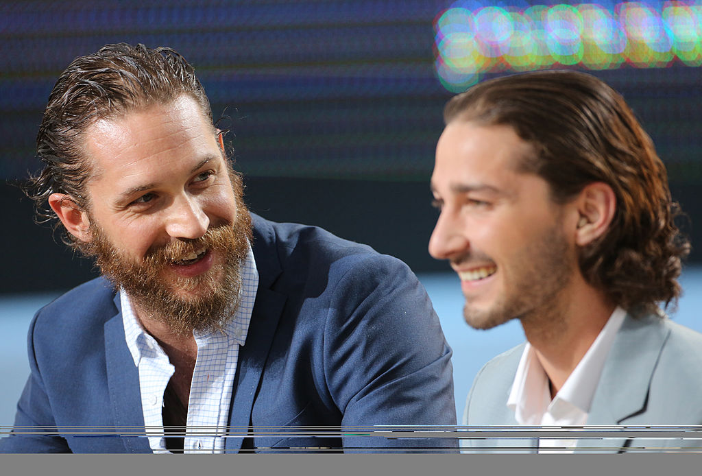 (L-R) Tom Hardy and Shia LaBeouf smiling