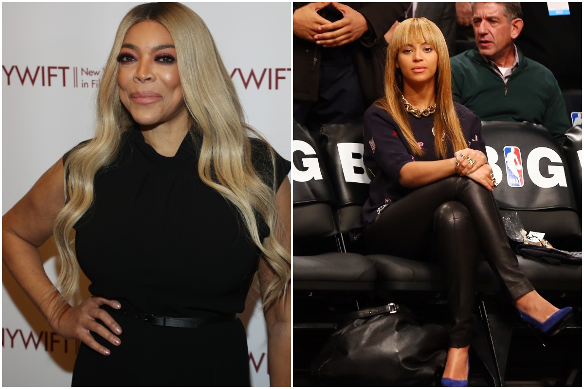 Wendy Williams attends the 2019 40th Annual NYWIFT Muse Awards at New York Hilton Midtown on December 10, 2019 in New York City./Beyonce looks on before the Brooklyn Nets play against the New York Knicks at Barclays Center on November 26, 2012 in the Brooklyn borough of New York City.The Nets defeated the Knicks 96-89 in overtime.