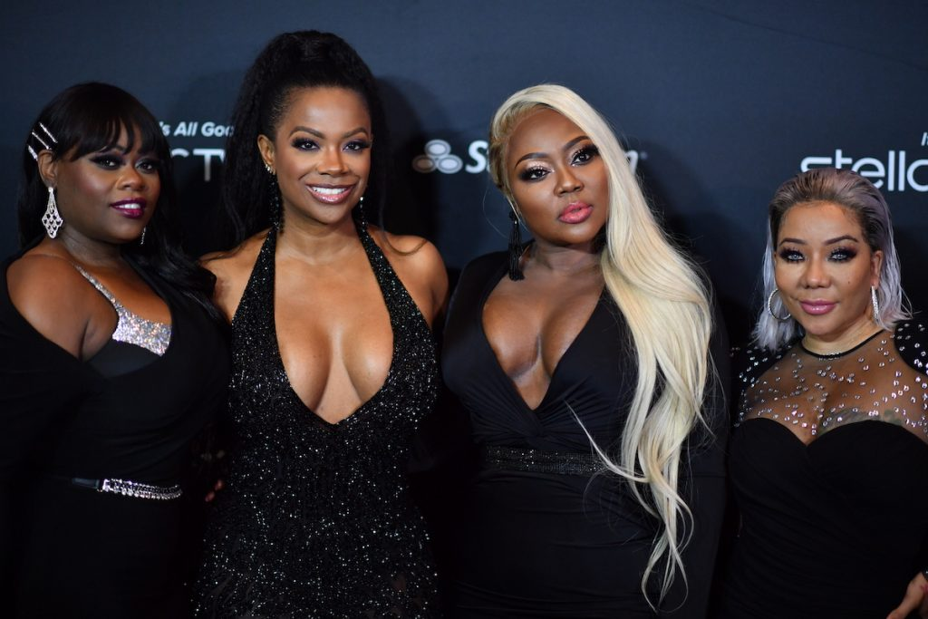 "Tamika Scott, Kandi Burruss, LaTocha Scott, and Tameka ""Tiny"" Harris of Xscape attend 2019 Black Music Honors - Arrivals at Cobb Energy Performing Arts Center on September 5, 2019 in Atlanta, Georgia 