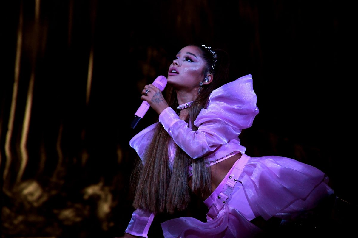 Ariana Grande performs onstage during her 'Sweetener World Tour' on May 07, 2019, in Los Angeles, California.