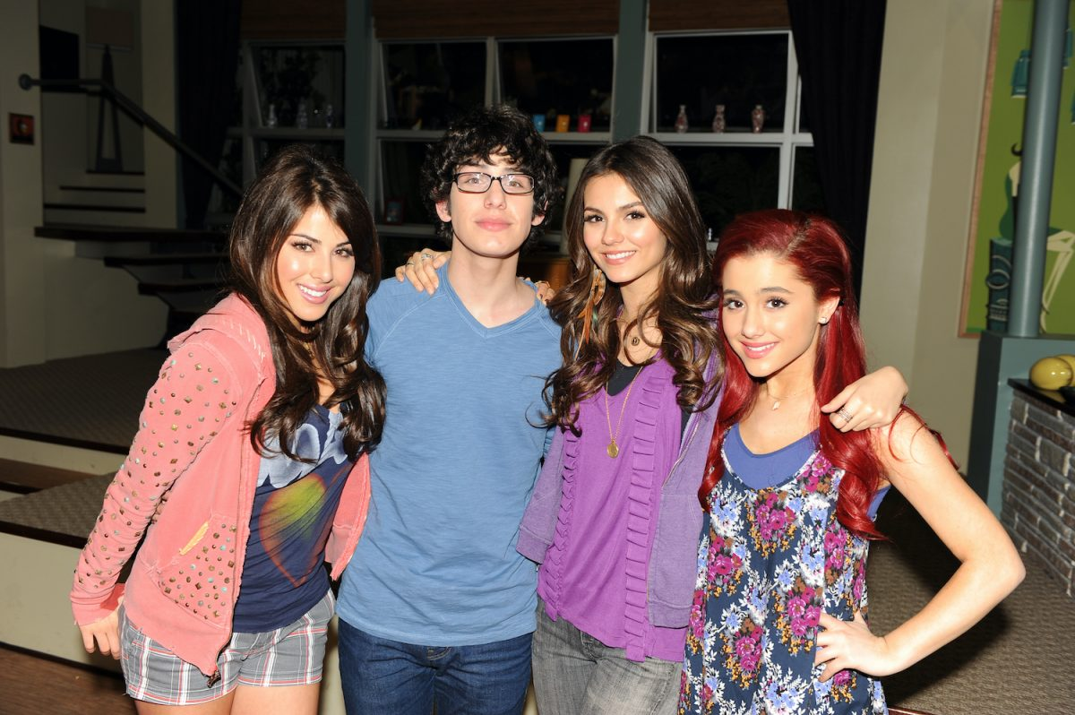Daniella Monet, Matt Bennett, Victoria Justice, and Ariana Grande on the set of 'Victorious' in Hollywood, California on February 22, 2011
