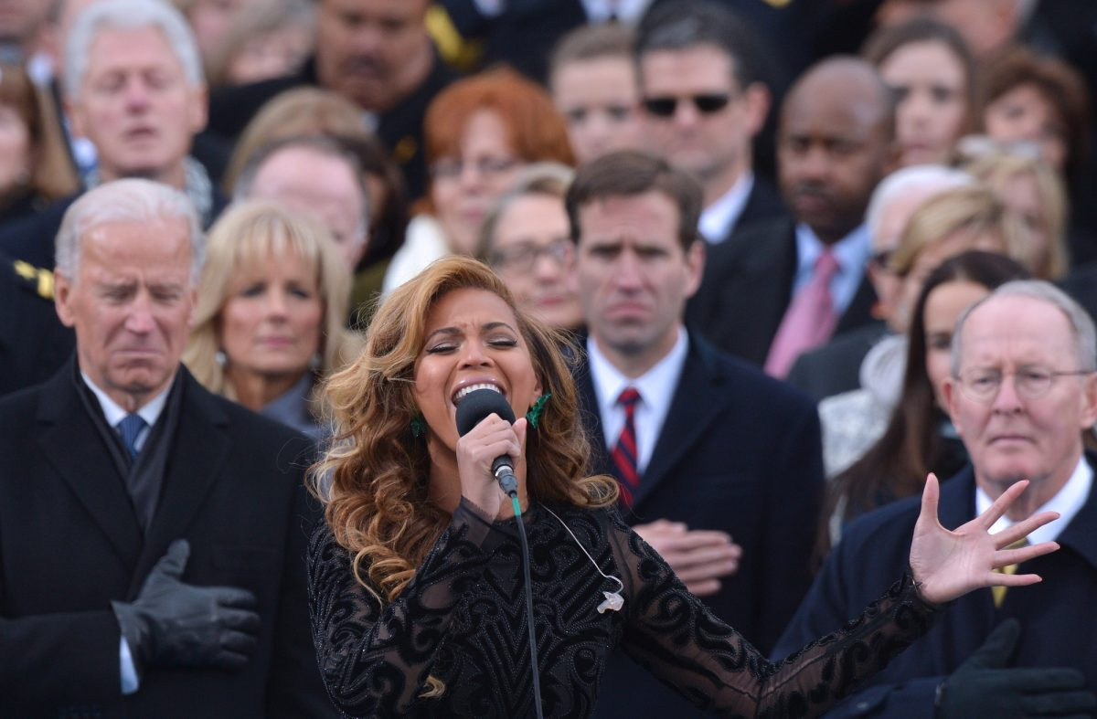 Beyoncé performs the National Anthem as Vice President Joe Biden and more listen during the 57th Presidential Inauguration ceremonial swearing-in at the US Capitol on January 21, 2013, in Washington, DC.
