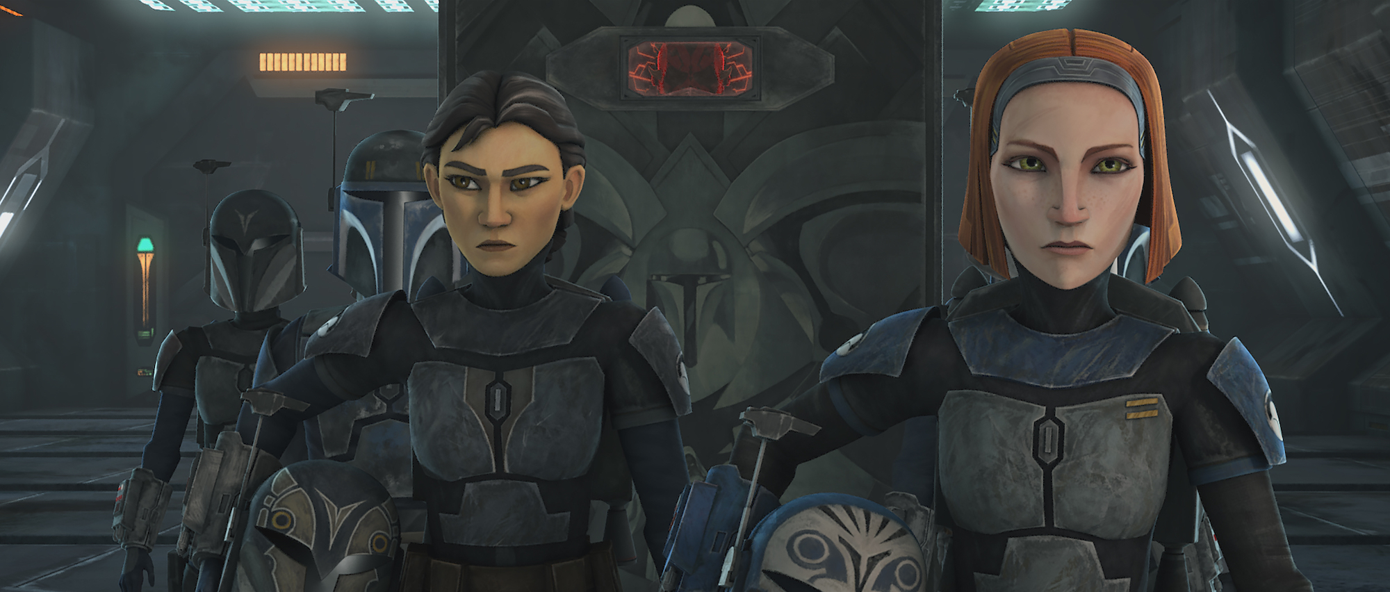Ursa Wren (Sabine Wren's mother) and Bo-Katan during the Clone Wars in 'The Clone Wars'