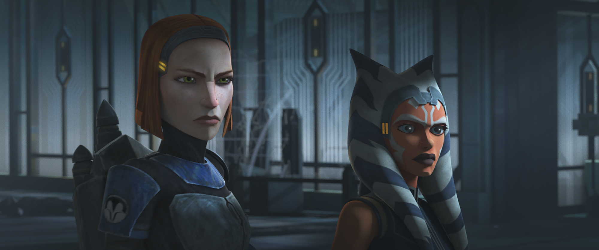 Bo-Katan and Ahsoka Tano during the Siege of Mandalore in Season 7 of 'The Clone Wars'