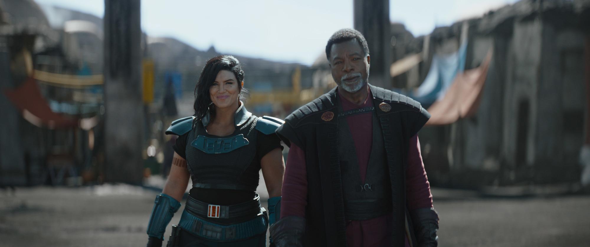 Cara Dune and Greef Karga in 'The Mandalorian' Episode 4, Season 2.