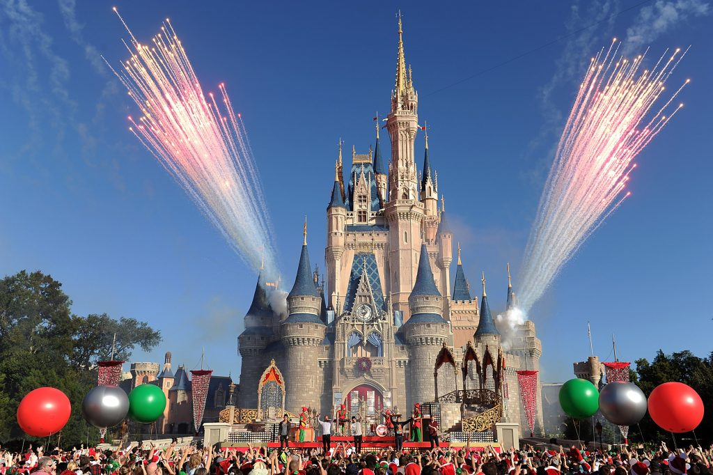 A Disney castle with fireworks