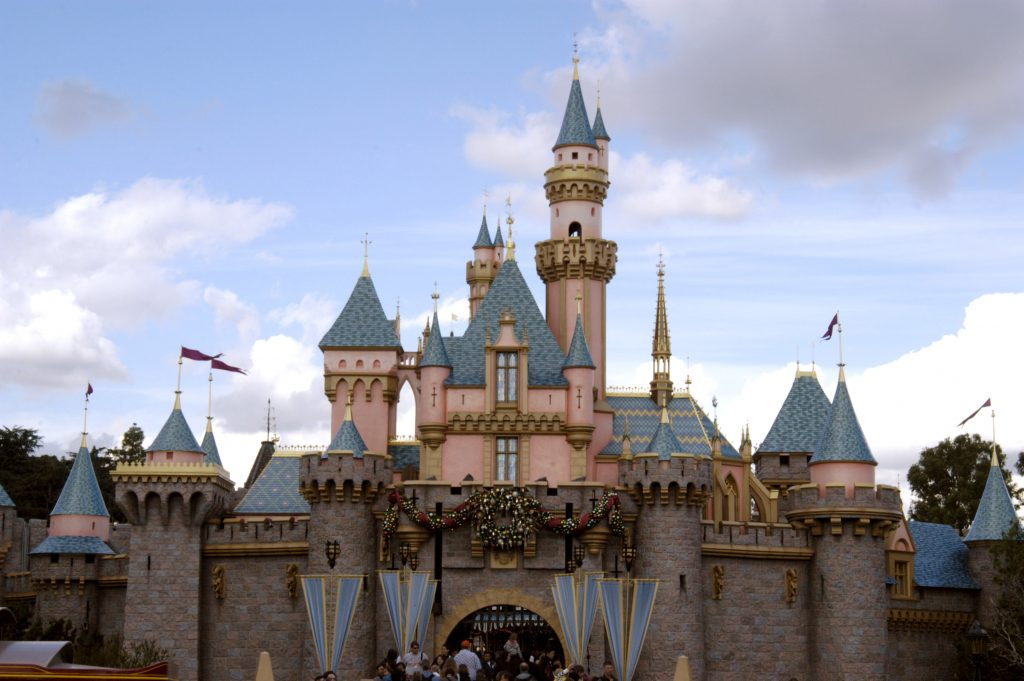 The Cinderella Castle with people in front