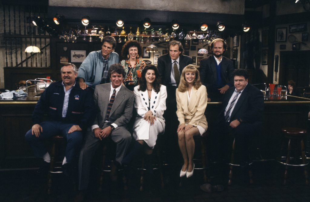 The cast of Cheers at the bar