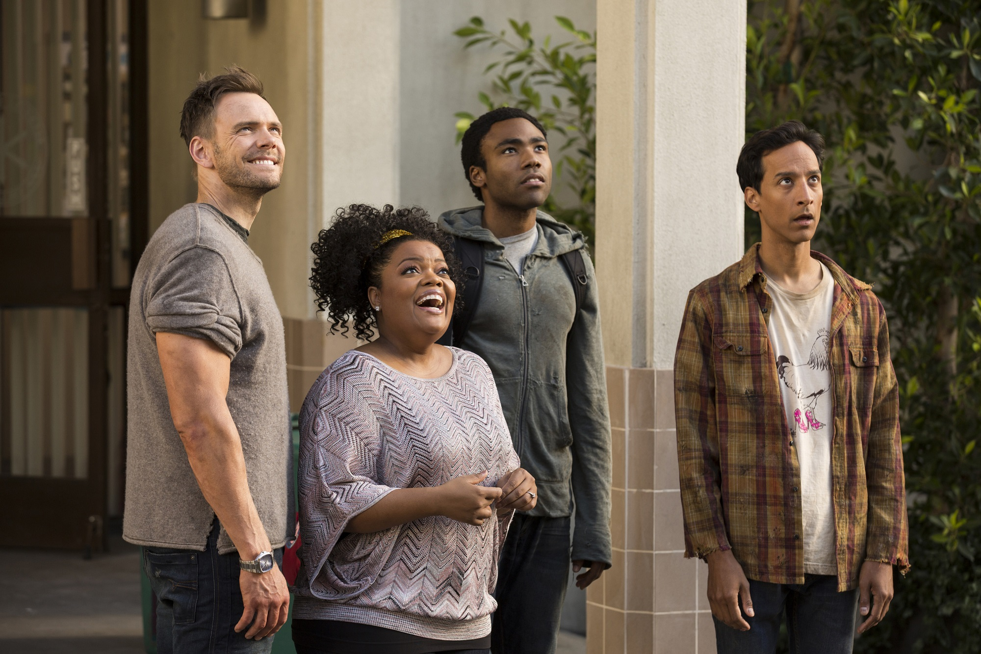 Joel McHale, Yvette Nicole Brown, Donald Glover, and Danny Pudi of Community