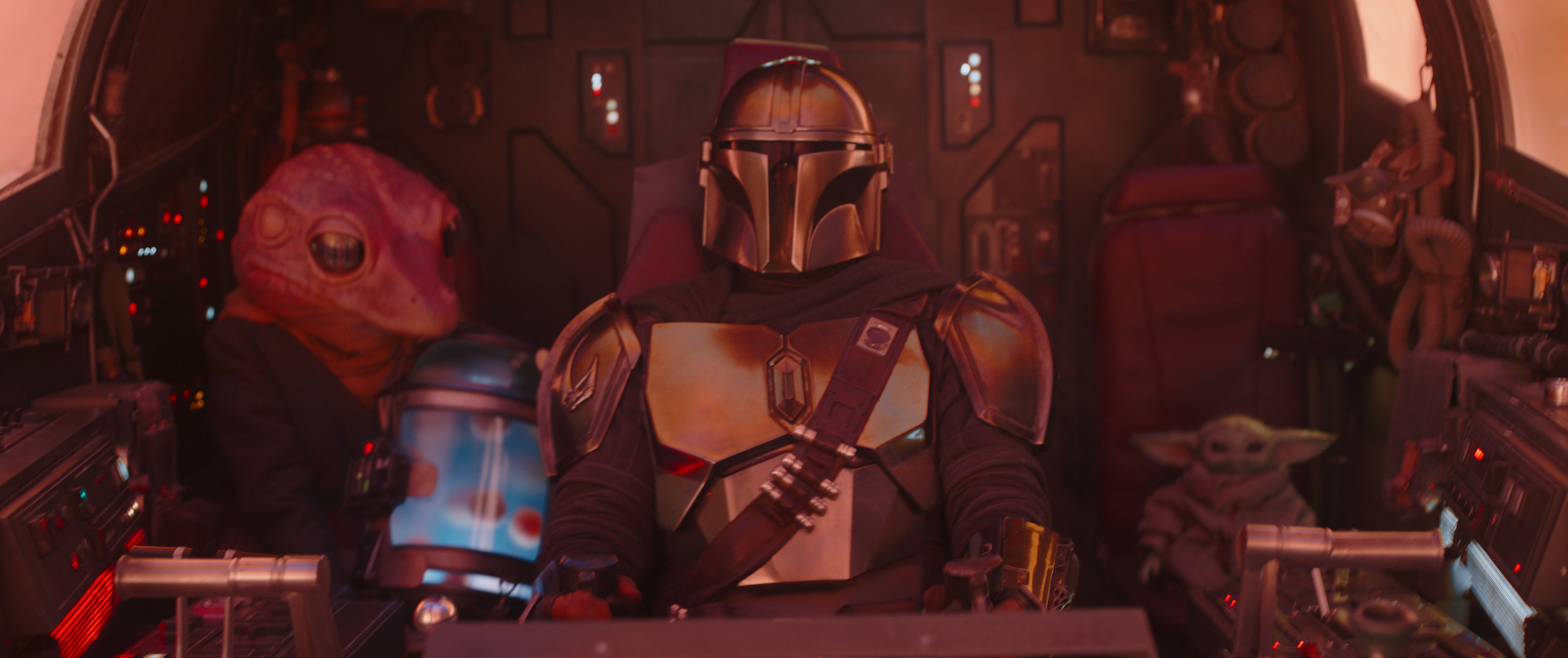 """Mando crash-landing with Frog Lady and The Child in """"Chapter 11"""" of 'The Mandalorian.'"""