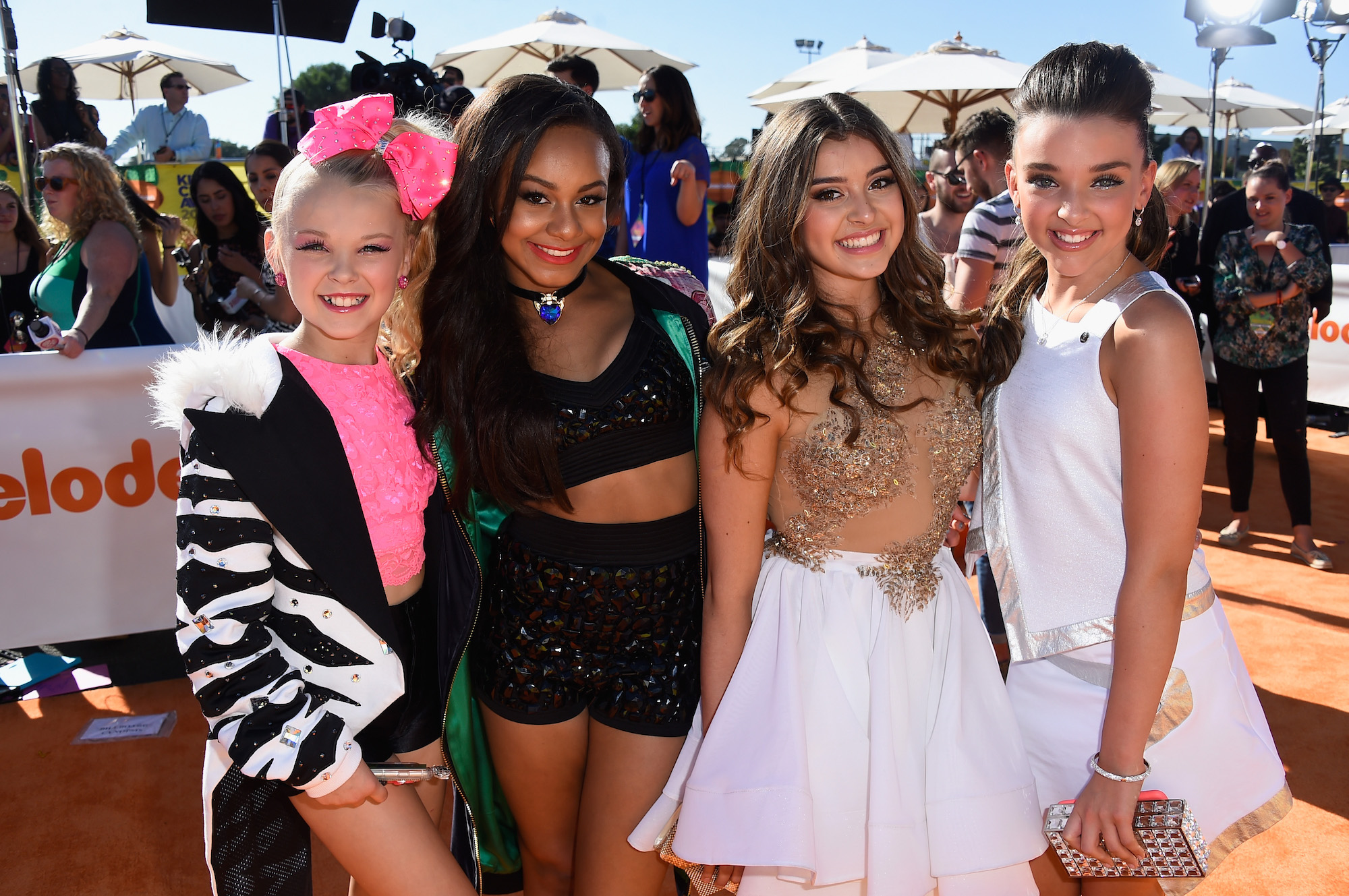 JoJo Siwa, Nia Sioux Frazier, Kalani Hilliker, and Kendall Vertes at Nickelodeon's 28th Annual Kids' Choice Awards on March 28, 2015.