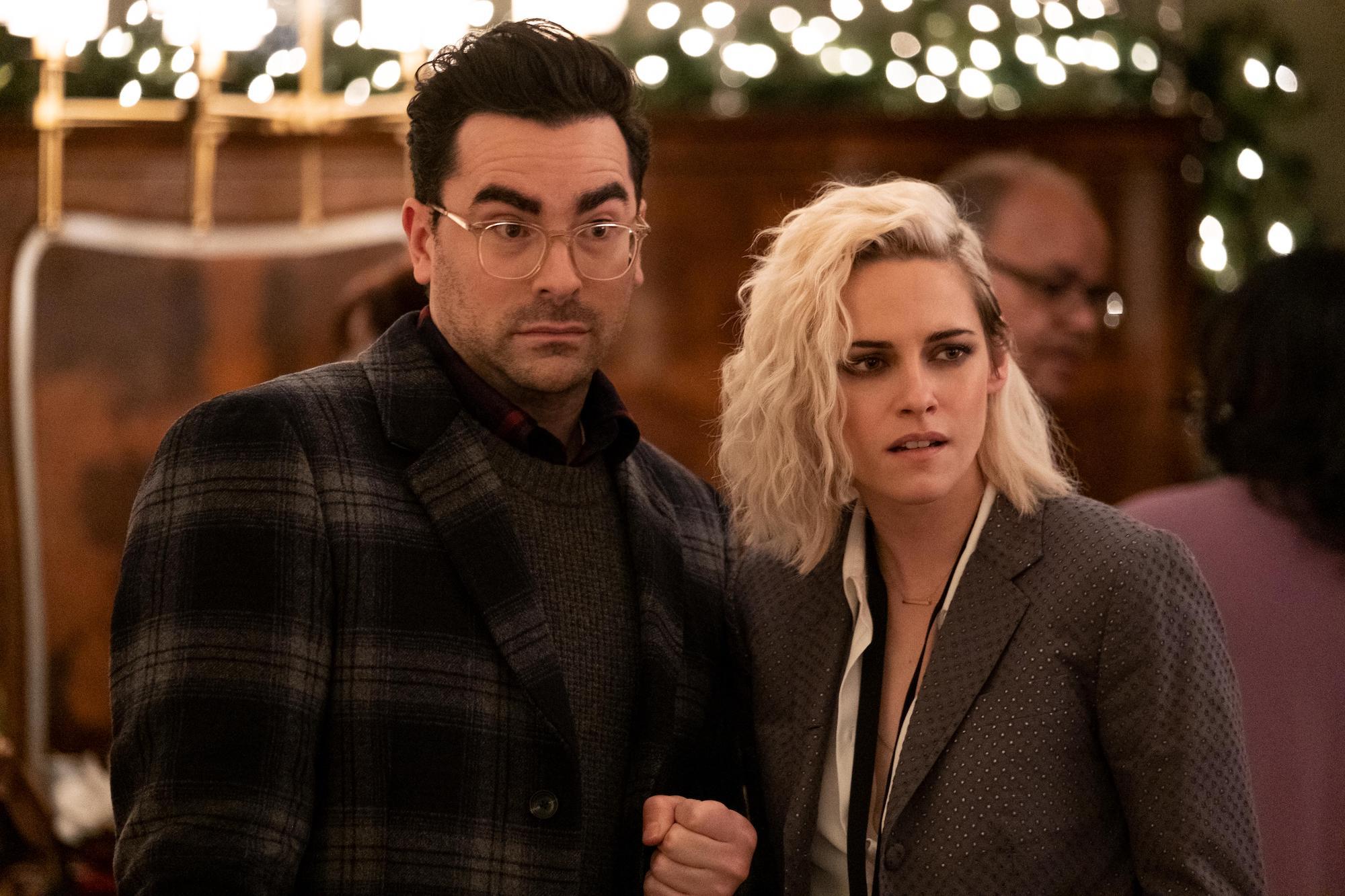 John (Dan Levy) and Abby (Kristen Stewart) in 'Happiest Season'