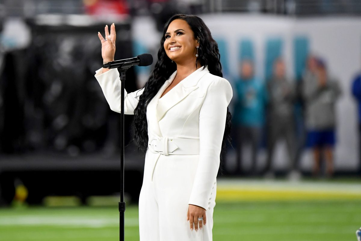 Demi Lovato performs the National Anthem onstage during Super Bowl LIV on February 02, 2020 in Miami Gardens, Florida.