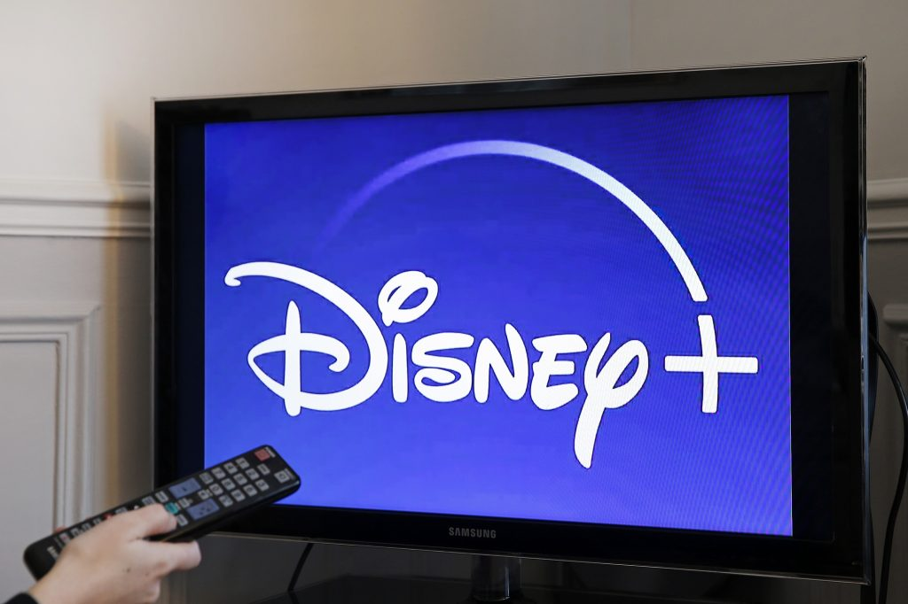 In this photo illustration, the Disney + logo is displayed on the screen of a television on November 08, 2019 in Paris, France.