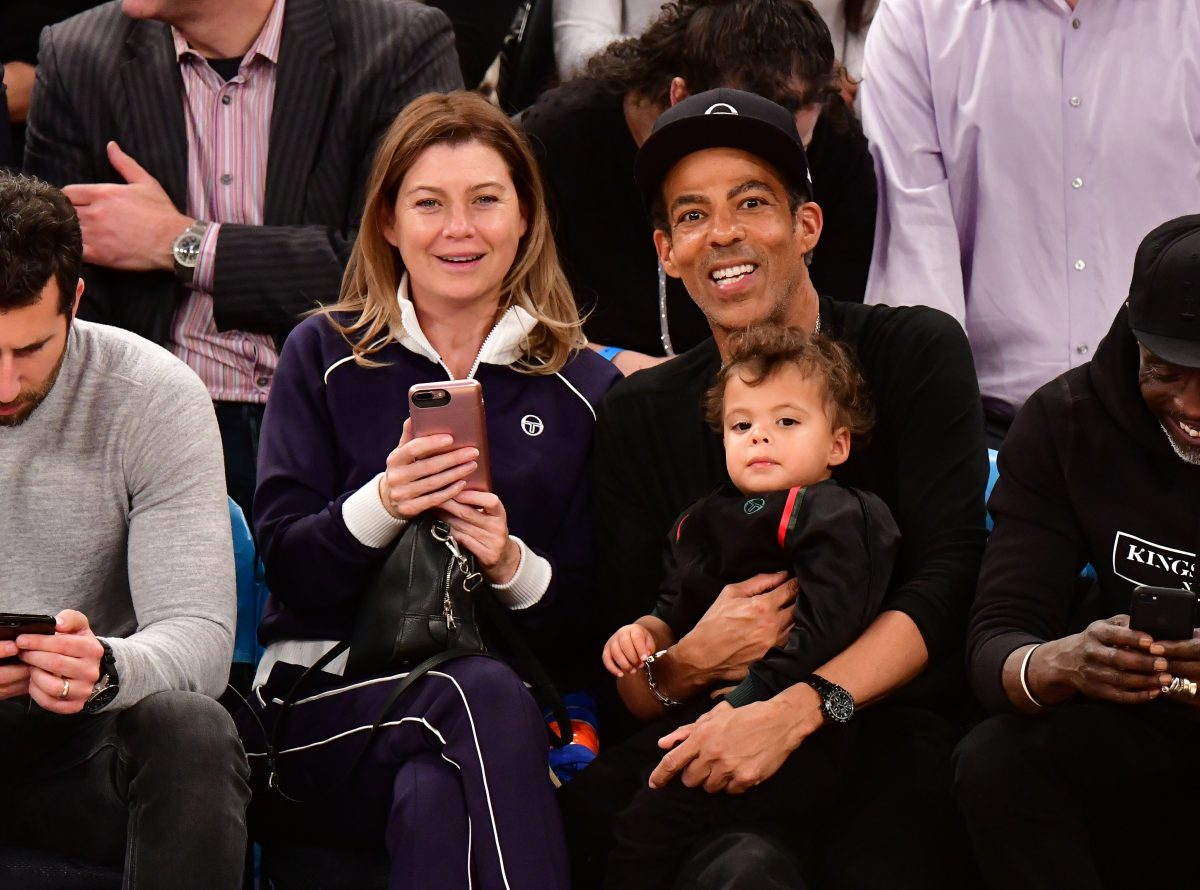 Ellen Pompeo, Eli Ivery, and Chris Ivery attend the Portland Trail Blazers vs New York Knicks game on November 20, 2018 in New York City.