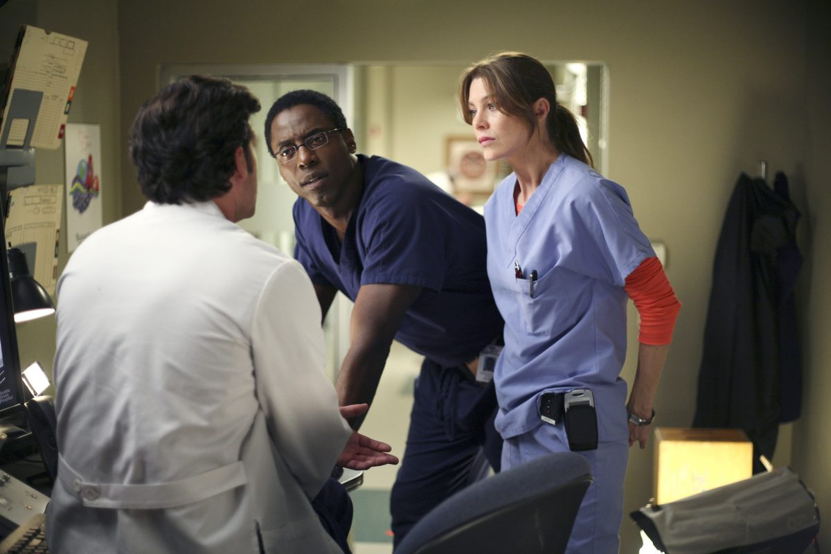 Patrick Dempsey, Isaiah Washington, and Ellen Pompeo in 'Grey's Anatomy'