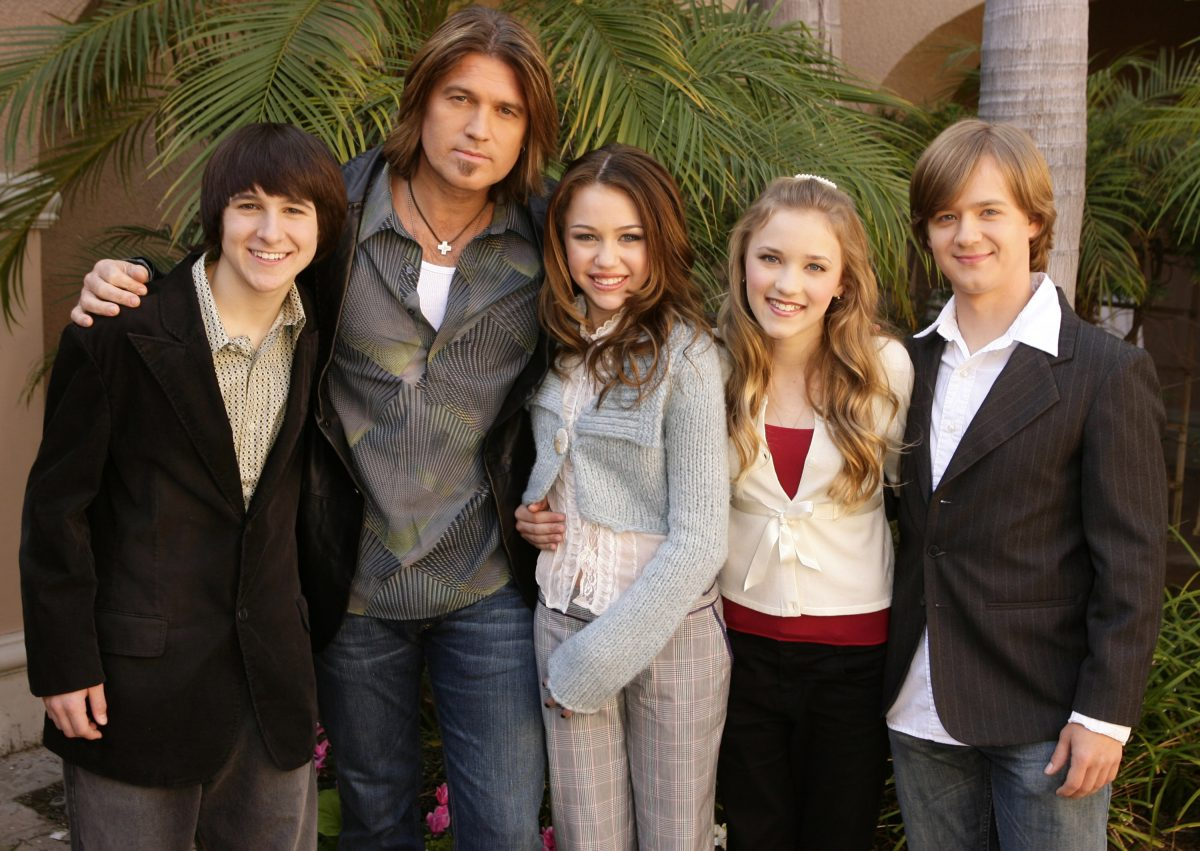 (L-R): Mitchel Musso, Billy Ray Cyrus, Miley Cyrus, Emily Osment and Jason Earles, Stars of Disney Channel's 'Hannah Montana'