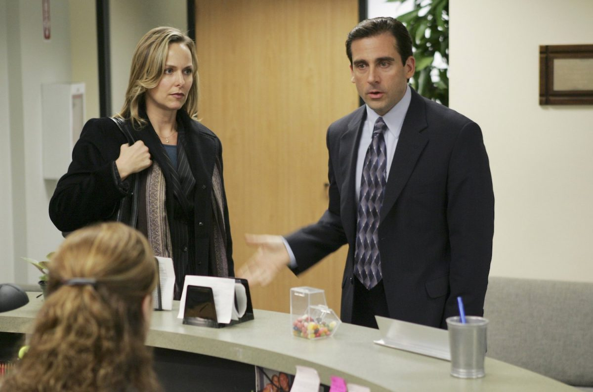 Jenna Fischer as Pam, Melora Hardin as Jan, and Steve Carell as Michael on 'The Office'