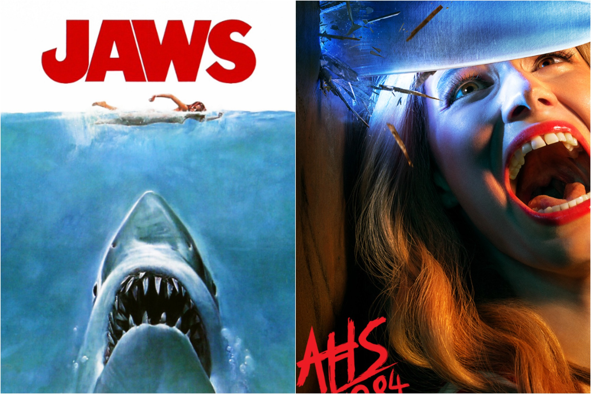 Poster for 'Jaws,' a 1975 American Thriller film directed by Steven Spielberg / Poster for Season 9 of 'American Horror Story: 1984.'
