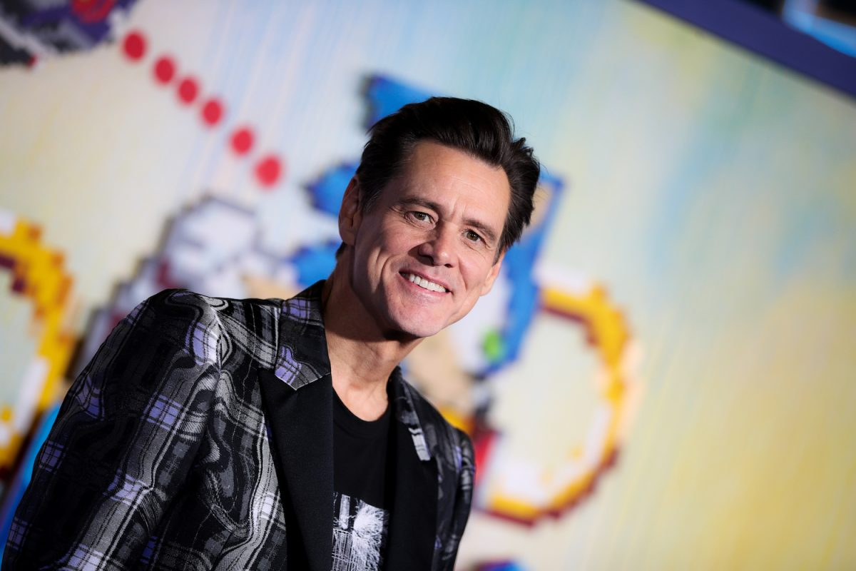 Jim Carrey attends the LA special screening of Sonic The Hedgehog at Regency Village Theatre on February 12, 2020