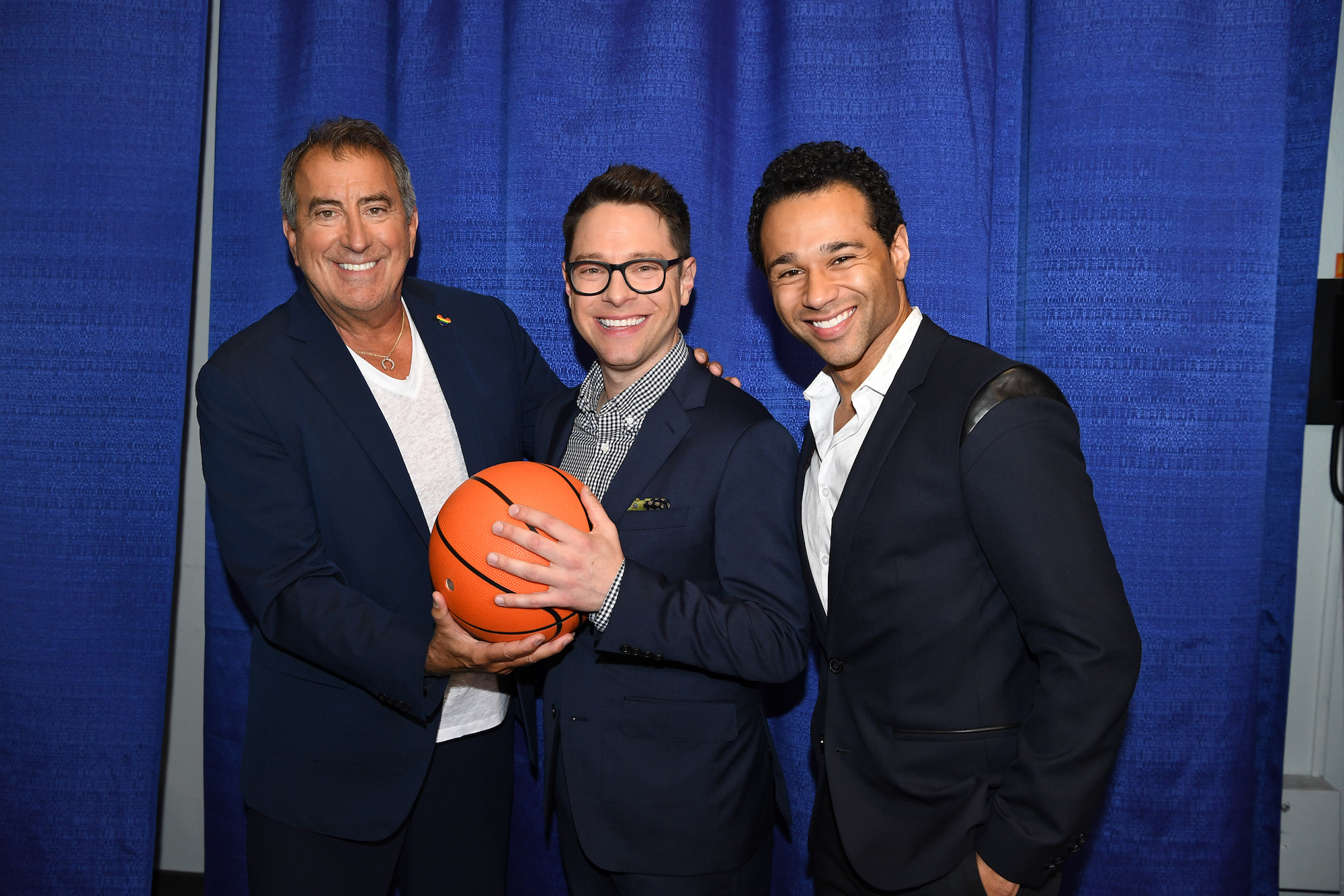 Kenny Ortega (creator and director of 'High School Musical') with Tim Federle (the showrunner for HSMTMTS) and Corbin Bleu at the D23 EXPO 2019.