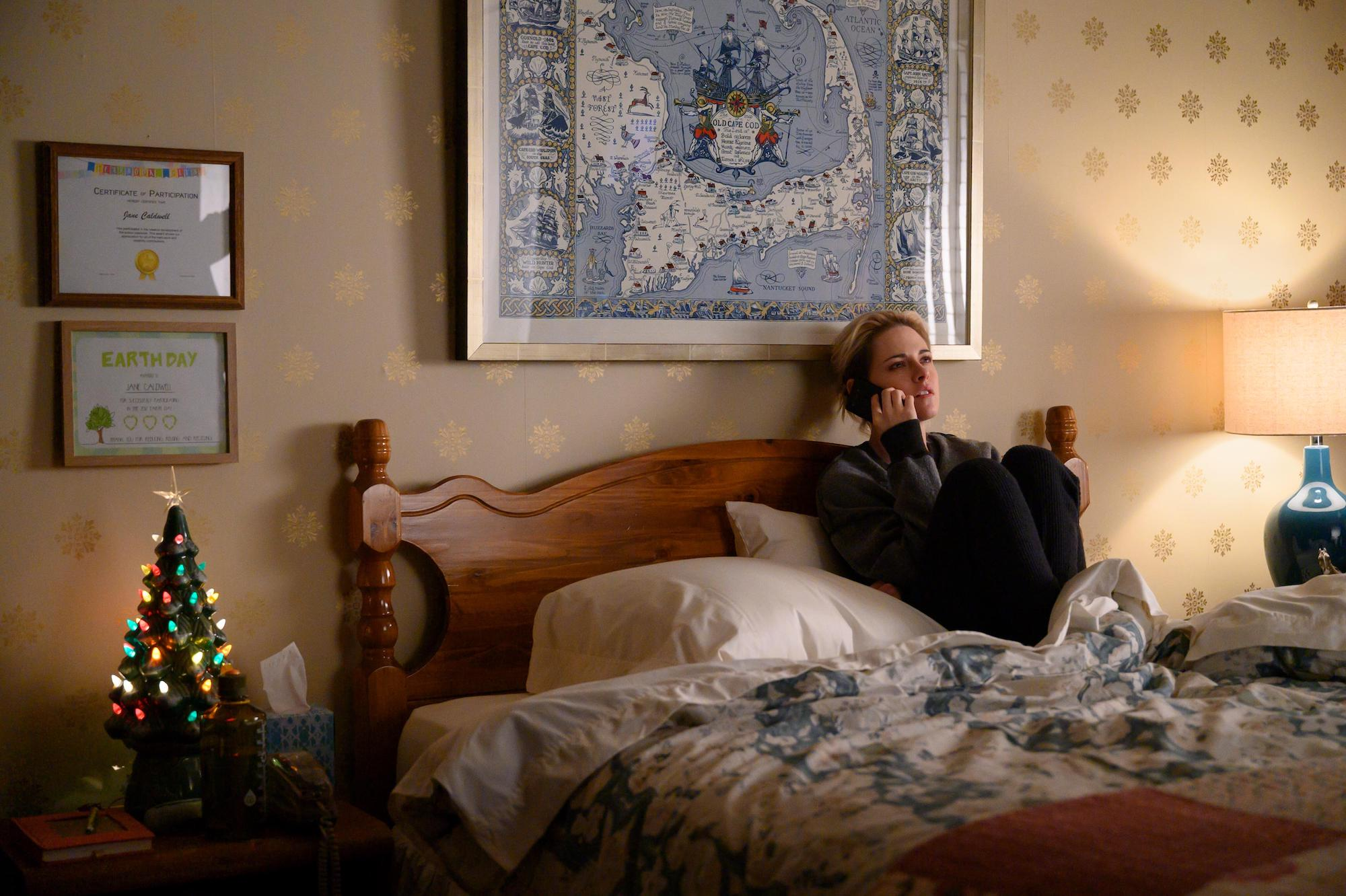 Abby on the phone with John in 'Happiest Season'