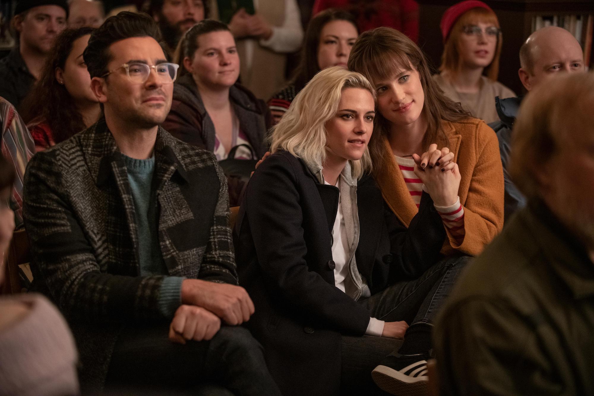 John (Levy), Abby (Stewart) and Harper (Mackenzie Davis) in 'Happiest Season'