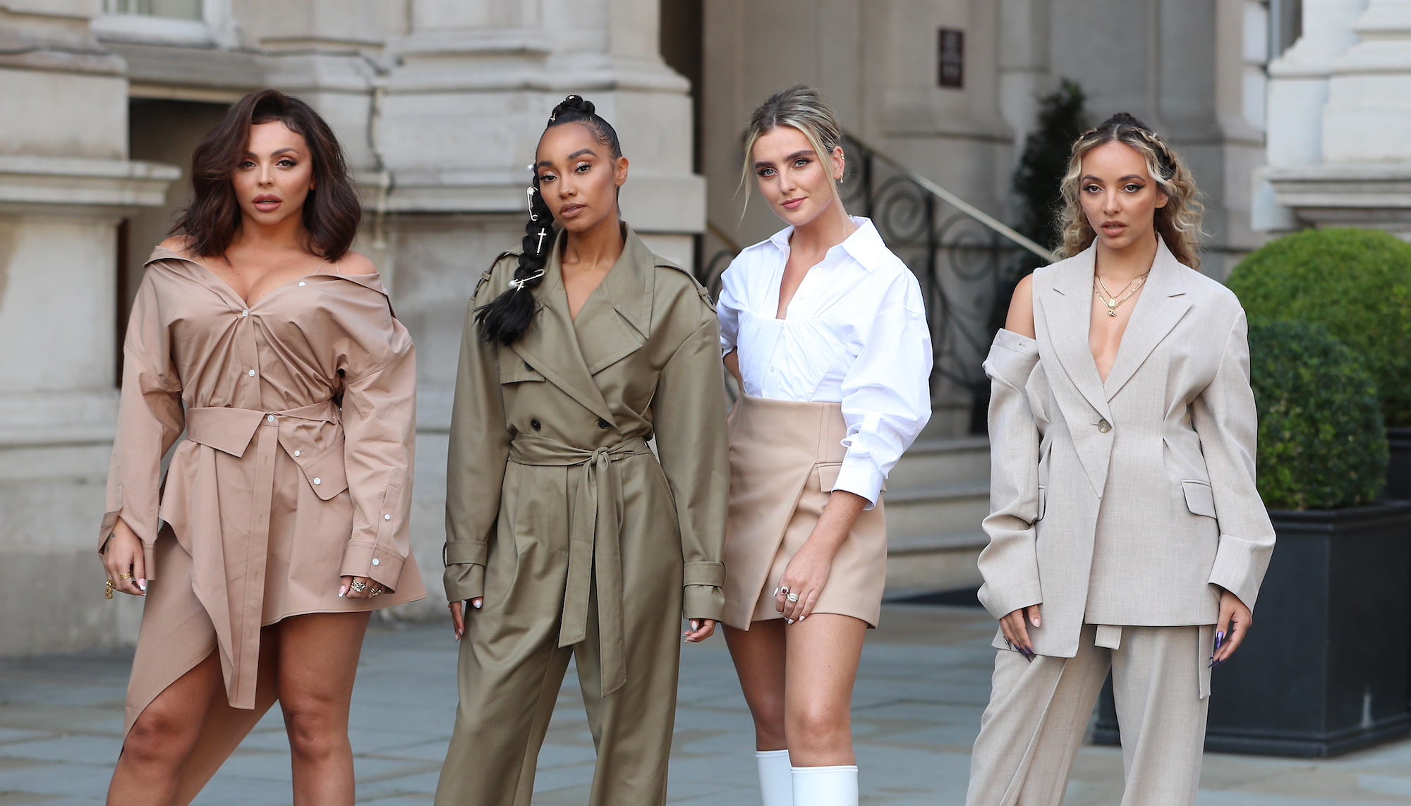 Little Mix leaving the Langham Hotel ahead of their performance of BBC Radio One Live Lounge on Sept, 15, 2020.