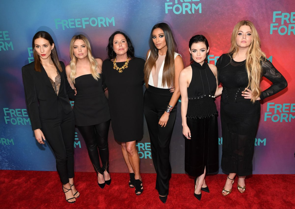 (L=R): Troian Bellisario, Ashley Benson, Executive Producer I. Marlene King, Shay Mitchell, Lucy Hale and Sasha Pieterse of 'Pretty Little Liars' attend Freeform 2017 Upfront on April 19, 2017 in New York City.