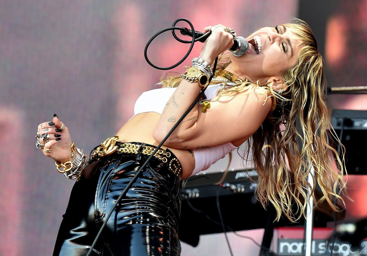 Miley Cyrus performs during day five of Glastonbury Festival on June 30, 2019 in Glastonbury, England.
