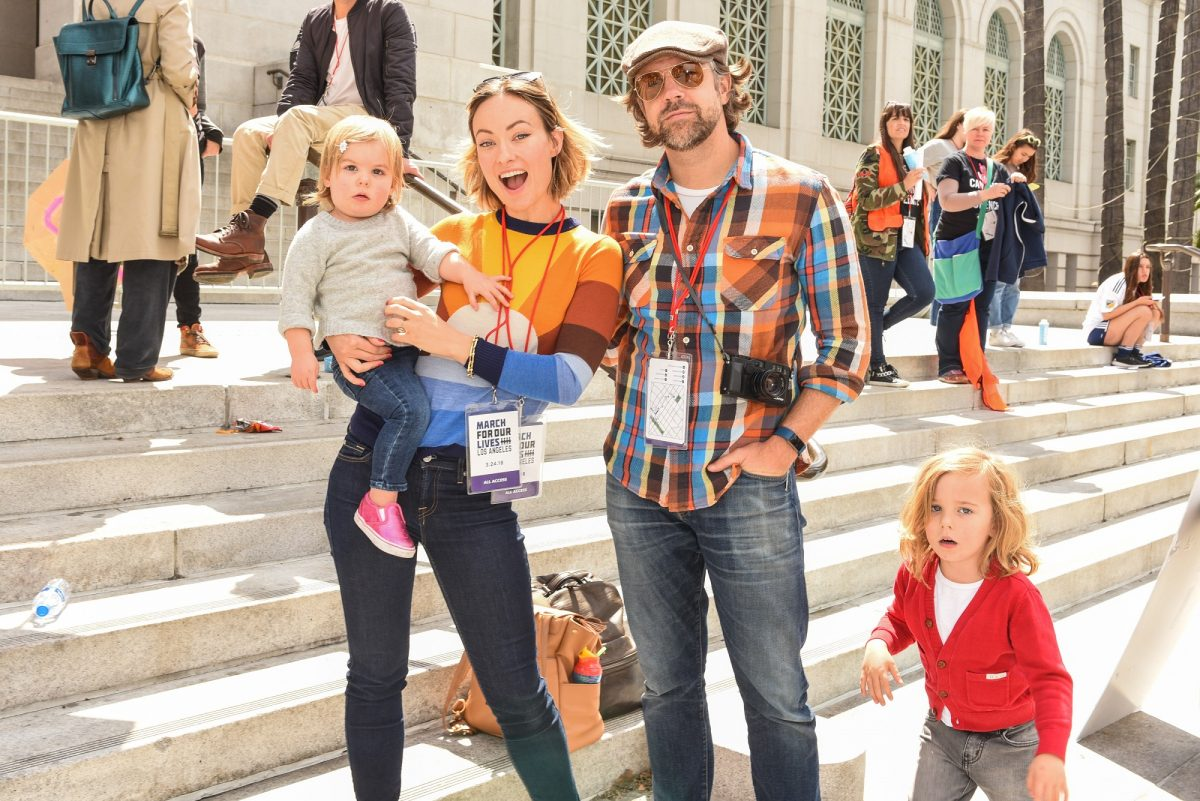 Olivia Wilde, Jason Sudeikis and Otis Sudeikis, Daisy Sudeikis attends March For Our Lives Los Angeles on March 24, 2018